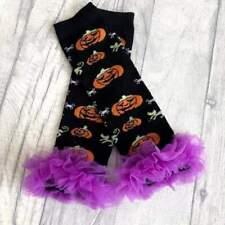 BABYS PUMPKIN LEG WARMERS Baby Girl's Halloween Black Purple Pumpkin Leg Warmers