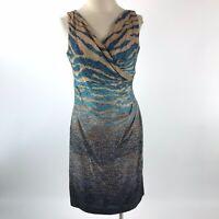 Anne Klein Women 4 Sheath Dress Blue Animal Print Sleeveless V-Neck 100% Cotton