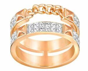 NIB $129 Swarovski Fiction Ring Rose Gold Plated Size 55/7 58/8 60/9