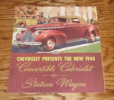 1940 Chevrolet Convertible Cabriolet Station Wagon Sales Brochure 40 Chevy