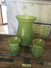 "Three beautiful frosted green vases - one 12"" and two 6""-nice display pieces"