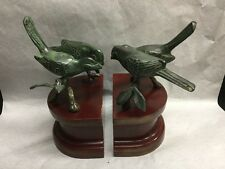 Vintage Birds on a Branch Bookends Brass w/Bronze Wash Great Patina/Wood Base