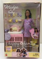 Barbie Happy Family Pregnant African American Midge Baby Girl Doll 2002 Mattel