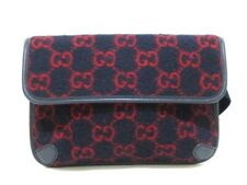 Auth GUCCI GG Wool Belt Bag 598181 Black Red Wool Leather Bum Bag