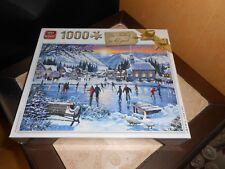 puzzle 1000 pièces PAYSAGE VILLAGE NEIGE LAC GELE PATINOIRE - sous blister