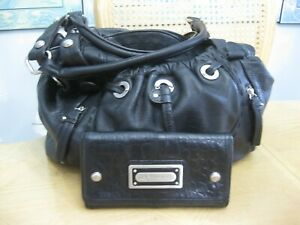 Soft Black Leather B.Makowsky Satchel Handbag Purse & Makowsky Leather Wallet