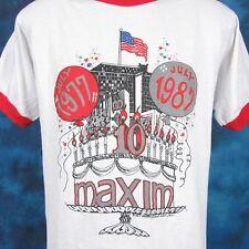 vintage 1987 MAXIM BIRTHDAY CAKE PAPER THIN RINGER T-Shirt MEDIUM cartoon 80s