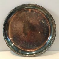 "VTG 12-3/8"" WM Rogers 171 Round Etched Silverplate Serving Tray Signed w/ Patina"
