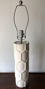 JONATHAN ADLER WHITE GEOMETRIC TABLE LAMP-CHROME HARP & FINIAL