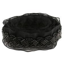 1 Roll Beaded Lace Trim Ribbon Fabric Sewing Collar Headband Crafts Black