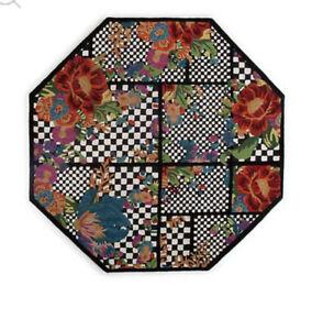 mackenzie childs flower market trellis octagonal rug - black