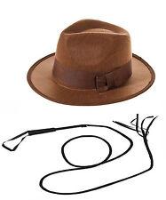 Indiana Jones Explorer Set Fedora Sombrero & 6Ft. Cuero Bull látigo de fantasía Vestido Nuevo