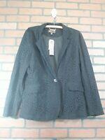 NWT Dana Buchman Women's Size 12 Black Cotton Blend One Button Cardigan Jacket
