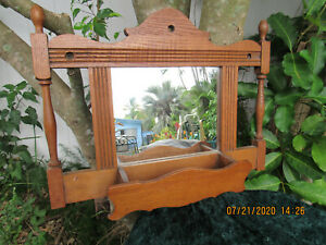 ANTIQUE MIRRORED OAK WOODEN CANDLE BOX HOLDER