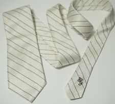 Hickey Freeman Tie Silk Jacquard White Stripe Diagonal Heavy