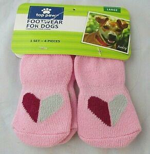 Top Paw Dog Footwear Size L 4 Socks Pink Red Gray Hearts Dog Socks NWT Anti Slip