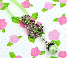Swarovski Elements Crystal New Peridot Green Pearl Butterfly Necklace Women Gift