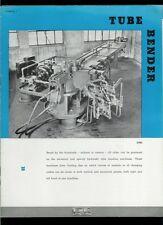 Super Rare 1939 Williams-White Universal & Hand Tube Bending Machine Brochure