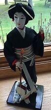 Japanese Vintage Kimono Geisha Cloth Doll Black Red Robe Guitar