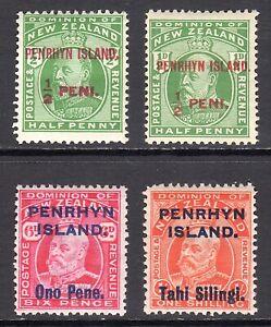 PENRHYN ISLAND 1914-15 KEVII surcharge set M, SG 19-23 cat £70