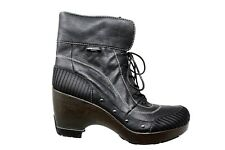 JAMBU Netherlands Black Leather Faux Fur Lace Up Studded Boots Size 9.5M 1846