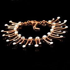 Rose Gold Plated Women Wedding Bridal Bracelet Made With Swarovski Crystal T6