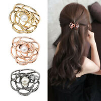Fashion Women Girls Pearls Gold Hair Claw Crab Korean Hairpin