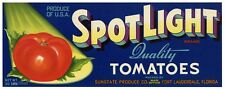 SPOTLIGHT, Fort Lauderdale, Florida Tomato Crate label, ***AN ORIGINAL LABEL***