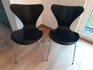 1 ARNE JACOBSEN Stuhl 7 Serie 3107 Fritz Hansen DK 60er-70er Jahre schwarz