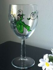 Hand Paint Green Angel Coloured Design Large Single Wine Glass Goblet 300ml Cup