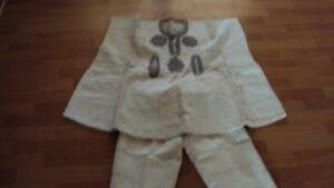 Vintage Nigerian Traditional Boy' Beige Aso Oke Dashiki & 3/4 Trousers -Age 9-10