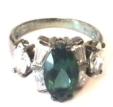 Vintage Oxidized Sterling Silver 925 Marquise Emerald CZ Cluster Cocktail Ring