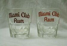 Vintage Miami Club Rum on the rocks Glass set of 2 1960s bar ware drink liquor