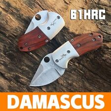 Mini Pocket Folding Knife Damascus Steel Sharp EDC Tool Rosewood Outdoor Tool