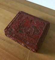 Antique Chinese Red lacquered Box Hand Carved Country view Early 20th century