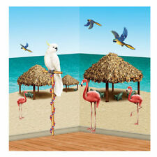 HAWAIIAN TROPICAL BEACH SCENE SETTER TIKI HUT AND BIRDS PROPS stick on decor
