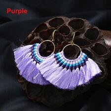 1pc Fan Shapebohotassel Hook Drop Dangle EarringsFashion Vintage Ethnic Jewelry Purple