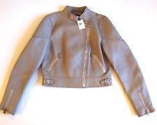 Coach Women Racer Asymmetric Zip Leather Moto Jacket Grey Birch Size M $995.00