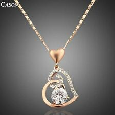 Fashion Love Heart Chain Pendant 18K Rose Gold Plated Austrian Crystal Necklace