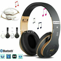 Wireless Headphones Bluetooth Headset Noise Cancelling Microphone Over With H4I5