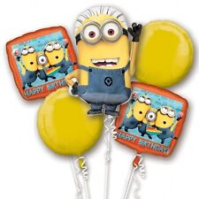 Despicable Me Minion Happy Birthday Foil Balloon Bouquet Display Decoration