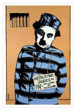 Movie Poster.Charles CHAPLIN in Jail.Muestra de Films FIAF.Home room Decor art