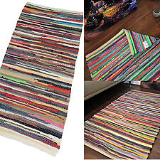 Large Chiding Rugs Handmade Multi Color Shabby Chic Woven Striped Mats 90x150cm