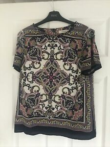 Oasis Scarf Print Blouse Size 10