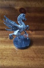 Pegasus Statue_Crystal_Marble base~Plymouth Pewter by Mann~Winged Horse Figurine