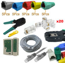 30M Cat5e Ethernet Network RJ45 Cable Tester Crimper Connectors Boots Kit Tools