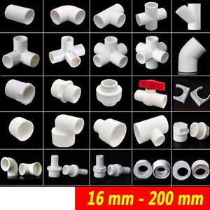 White PVC-U Pipe Adhesive Fittings Sleeve Elbow Tee Union Reducer Ball Valve Cap
