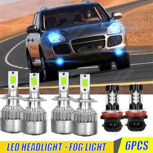 For Porsche Cayenne 2003-2006 6x Combo LED Headlight High Low + Fog Light Bulbs