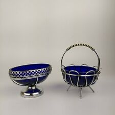 More details for vintage lattice silver/chrome blue glass insert liners caviar bowl & sugar bowl