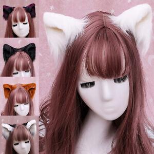 Cat Fox Ears Headband Costume Fur Anime Neko Cosplay Party Halloween Hair Band